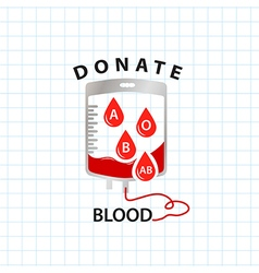 Donate blood concept with bag blood and drop blood vector image