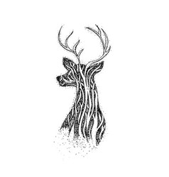 dotwork tree reindeer vector image