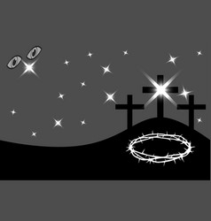 easter - golgotha three crosses vector image