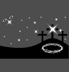 Easter - golgotha three crosses vector