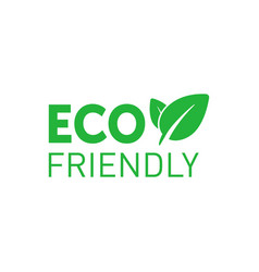 Eco friendly green badge with tree leaf design vector