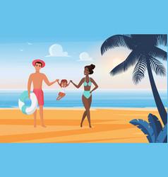 family happy people have fun sunbaand play vector image