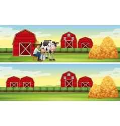 Farmer milking cow in the farm vector