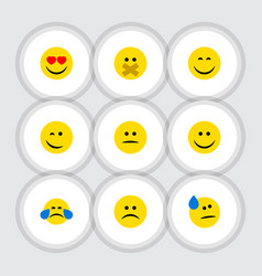 Flat icon emoji set of smile displeased hush and vector