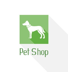Flat pet shop logo with dog vector