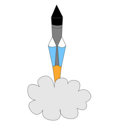 flying rocket in space on white background vector image