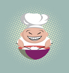 Funny asian cook with chopsticks cooks rice vector