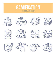 Gamification doodle icons vector