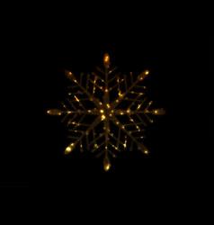 golden iridescent flickering snowflake christmas vector image
