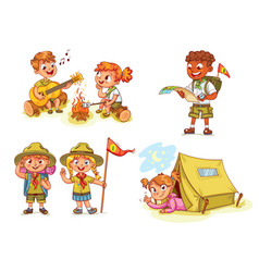 hiking recreation tourist group vector image