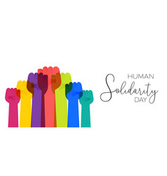 human solidarity day colorful hands vector image