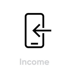 Income in phone icon editable outline vector