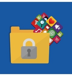 Internet security folder files social media icons vector