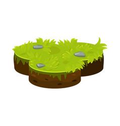 Isometric ground island platform with green grass vector