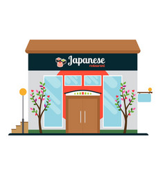 Japanese food restaurant front vector
