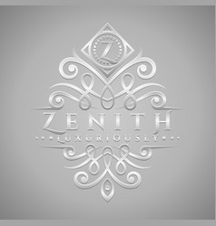 letter z logo - classic luxurious silver vector image