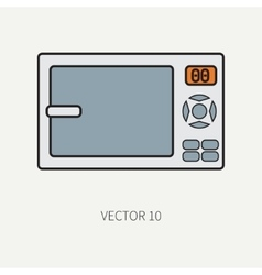 Line flat color kitchenware icons - vector image