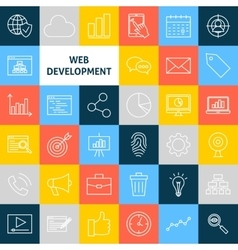 Line Web Development Icons vector