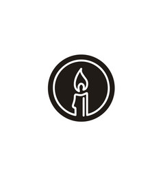 luxury elegant candle light simple logo vector image
