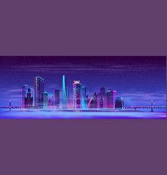Misty megapolis between hinged bridges vector