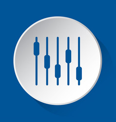 mixing console - simple blue icon on white button vector image