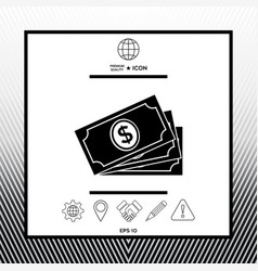 Money banknotes stack with dollar symbol icon vector
