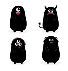 Monster black silhouette set fang tooth open vector