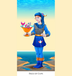 Page of cups tarot card vector