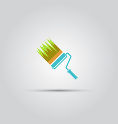 Paint roller and strip paint isolated icon vector