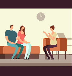 Patient on couch counseling with psychologist vector