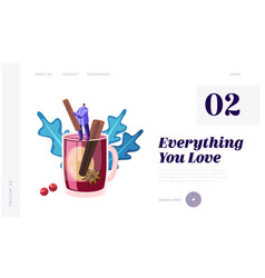 People and hot drink website landing page tiny vector