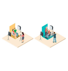 photo shoot isometric young and elderly couples vector image