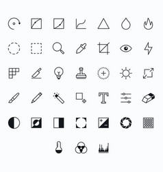 Photography outline icons for web and mobile thin vector