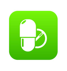 pills icon green vector image