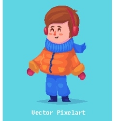 pixel funnykid isolated on blue background vector image