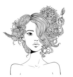 portrait of young beautiful woman with flowers vector image