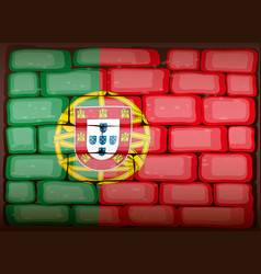 Portugal flag on brickwall vector