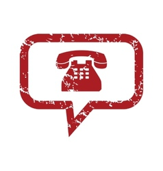 Red grunge telephone conversation logo vector image