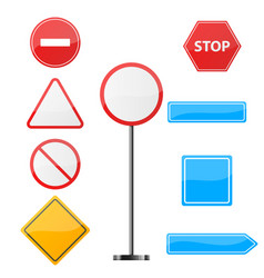 road sign nine items template vector image