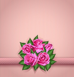 Roses postcard pink vector