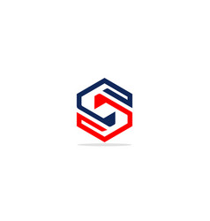 S initial shape line circle geometry logo vector