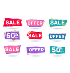 Sale offer and fifty percent off discount vector