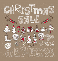Set of elements for christmas sale vector