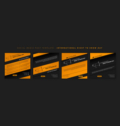 Set social media post template with black vector