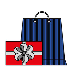 shopping online bag and gift box vector image