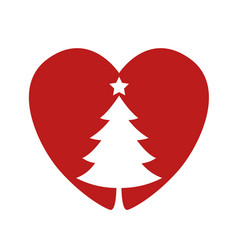 Silhouette of a christmas tree in the heart vector