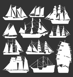 silhouette of boats vector image