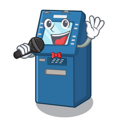 singing atm machine next to character table vector image