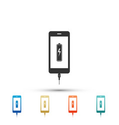 smartphone battery charge icon on white background vector image
