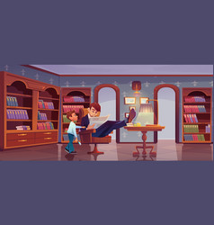 Son and father at home library and busy dad vector